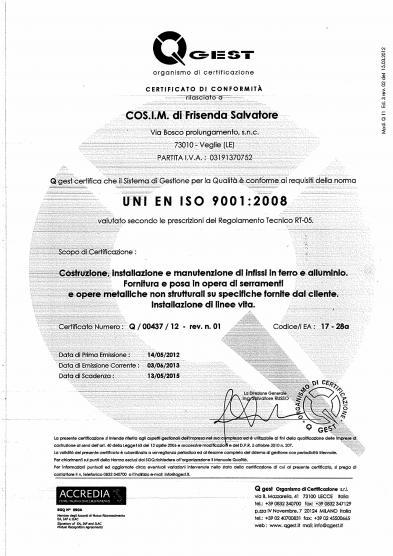 infissi lecce certificati iso 9001